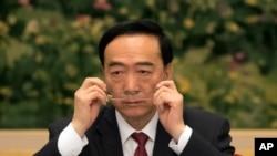2017年10月19日,在北京举行的中共第十九次党代会期间,新疆党委书记陈全国在新疆代表团会议上。