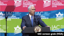 U.S. Vice President Mike Pence speaks to the Israeli American Council's annual conference at The Diplomat Beach Resort in Hollywood, Fla., Nov. 30, 2018.