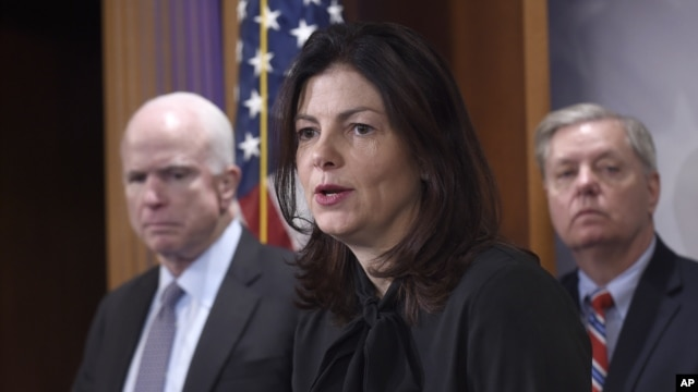 Senate Armed Service Committee member Sen. Kelly Ayotte, R-N.H., center, flanked by committee chairman Sen. John McCain, R-Ariz., left, and fellow committee member Sen. Lindsey Graham, R-S.C., speaks during a news conference on Capitol Hill in Washington, Jan. 21, 2016, regarding developments with Iran and criticizing the Iran deal.