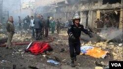 Serangan bom di distrik Kadhimiya, Baghdad (5/1). Irak dilanda berbagai serangan yang mensasar warga Syiah.
