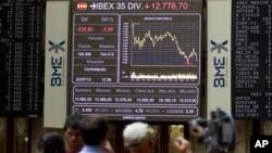 23일 구제금융 위기를 맞은 스페인의 마드리드 증권거래소.