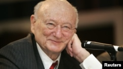 In this April 18, 2007 photo, former New York Mayor Ed Koch listens during the 9th annual National Action Network convention in New York.
