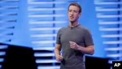 FILE - Facebook CEO Mark Zuckerberg delivers the keynote address at the F8 Facebook Developer Conference in San Francisco, California, April 12, 2016.