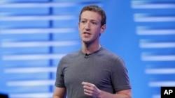FILE - Facebook CEO Mark Zuckerberg delivers the keynote address at the F8 Facebook Developer Conference in San Francisco, California, April 12, 2016.