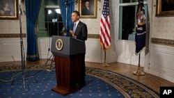 US President Barack Obama makes a statement on the budget agreement, April 8, 2011
