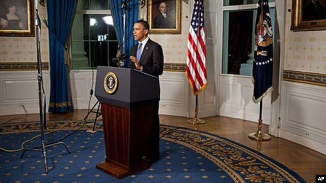 US President Barack Obama makes a statement on the budget agreement, April 8, 2011