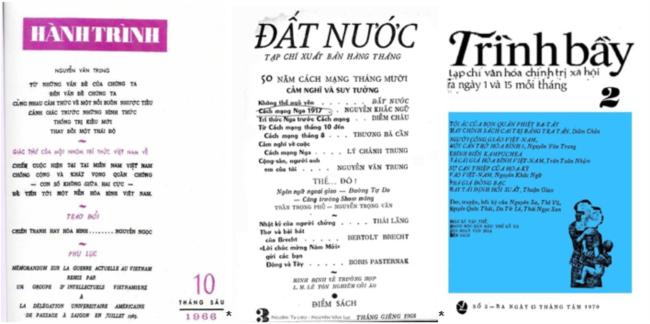 Hình 7: Từ trái, bìa báo Hành Trình số 10, tháng 6-1966 cũng là số Hành Trình cuối cùng; bìa báo Đất Nước số 3, tháng 1-1968; bìa báo Trình Bầy số 2, tháng 8-1970. [4] [tư liệu Nguyễn Văn Lục]