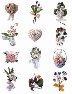 Decorative pins by Shigeko Shintaku, Iwa Miura and Grace Ayako Ito. The pins are made of beans, seeds, shells, wood and paper