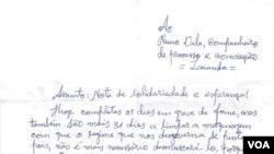 Carta a Nuno Dala, primeira página