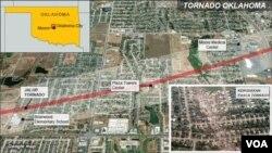Peta wilayah yang terkena Tornado di wilayah Oklahoma, Selasa (21/5).