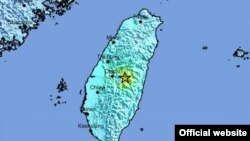台灣發生強烈地震(美國地質監測局)