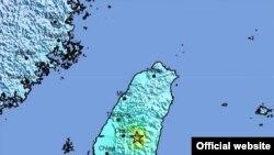 타이완 지진 위치 지도 (자료제공: 미국 지질조사국)