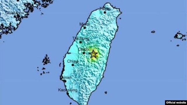 Taiwan earthquake locator map (Credit: USGS)