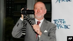 "Director Greg MacGillivray holds a camera at a showing of ""To the Arctic"" held in New York city in April 2012."