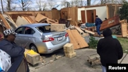 Wreckage is seen at a mobile home park a day after it was hit by a tornado, in Convent, Louisiana Feb. 24, 2016 in a photo provided by the Louisiana Governor's Office of Homeland Security and Emergency Preparedness.