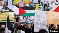 د اسرایل او فلسطینیانو د ورستۍ جګړۍ په مهال په پاکستان کې د اسرایل په ضد د یوې مظاهرې منظر