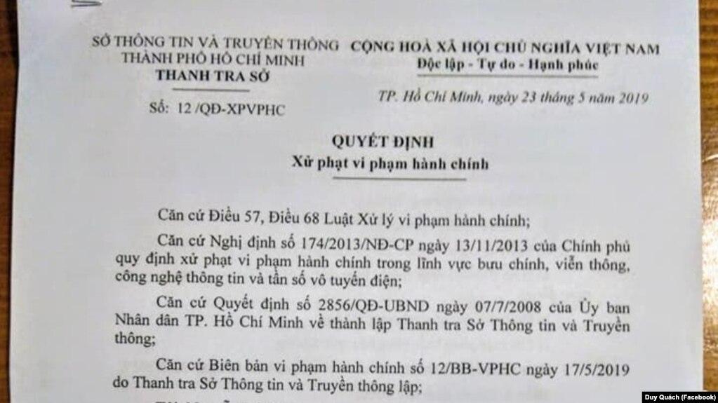 Văn bản Quyết định Xử phạt vi phạm hành chính đối với ông Quách Duy.