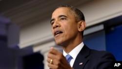 Tổng thống Obama nói về cuộc tranh cãi ngân sách tại phòng họp báo Tòa Bạch Ốc, 30/9/13