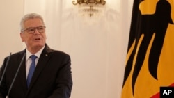 German President Joachim Gauck gives a statement where he announced that we will not run for a second term in Berlin, June 6, 2016.