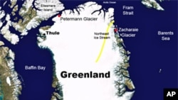 Map of Greenland's ice