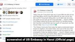 Bài đăng hôm 20/11 của Đại sứ quán Mỹ với phát biểu của Trợ lý Ngoại trưởng Stilwell về Đảng Cộng sản Trung Quốc