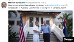 澳大利亞總理發推文歡迎哈里斯被任命駐澳大使