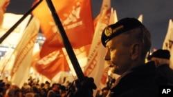 Para pendukung partai oposisi Ukraina menggelar aksi protes di Kiev, Ukraine (6/11).
