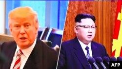 美國川普總統(左)說他的核武器按鈕比北韓領導人金正恩(右)大。