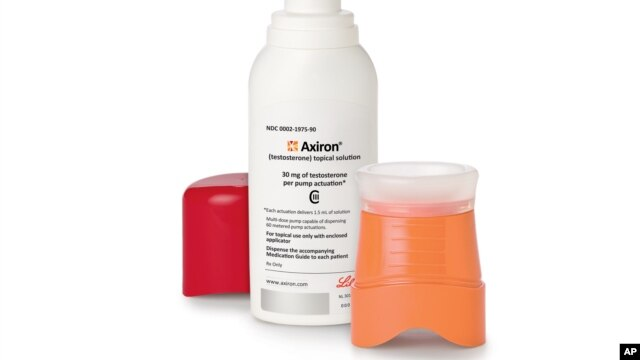Axiron, an underarm gel that rolls on like deodorant, is used by men struggling with symptoms of growing older associated with low testosterone. (Eli Lilly & Co.)