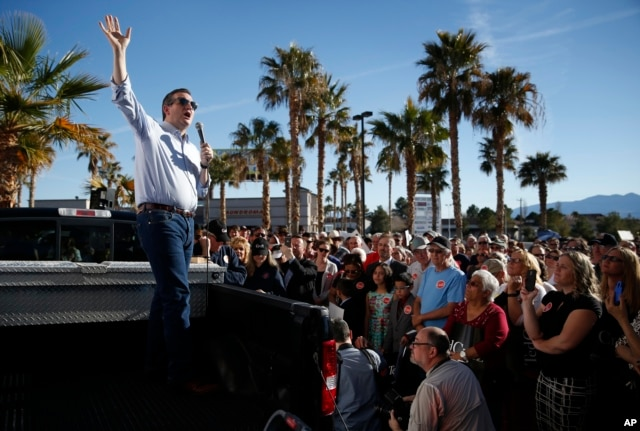Republican presidential candidate Sen. Ted Cruz of Texas speaks from the bed of a truck at a rally in Pahrump, Nev., Feb. 21, 2016.