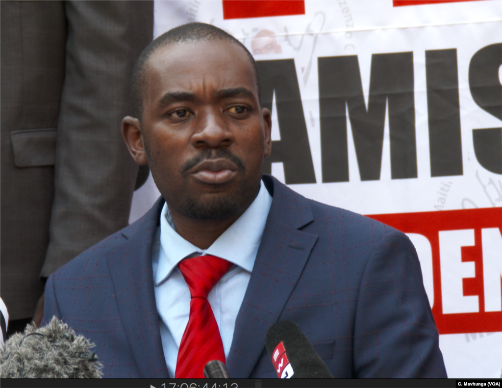 Nelson Chamisa, the leader of the Movement for Democratic Change Alliance, listens as a journalist asks a question, Aug. 4, 2108, in Harare.