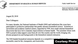 美國最大的醫學科研機構、國立衛生研究院(NIH)院長弗朗西斯柯林斯(Francis S. Collins)寫信給大約10000個NIH資助的機構,要求他們明確披露各種形式的支持和資金來源,包括來自其他外國政府和外國機構的支持。