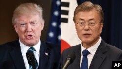 El presidente de EE.UU., Donald Trump (izquierda) se reúne con su homólogo surcoreano Moon Jae-In en la Casa Blanca.