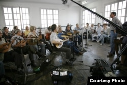 The El Gusto orchestra during filming in France. (Courtesy Quidam Production El Gusto)