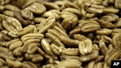 Shelled pecans are shown at the Navarro Pecan Company in Corsicana, Texas, Friday, Nov. 21, 2008.