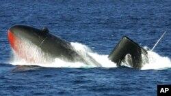 """日本海上自卫队""""汐潮级""""的""""雪潮号""""潜艇。(资料照)"""