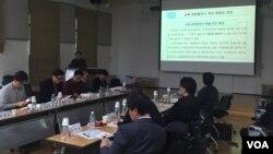 18일 서울 동숭동 예술가의 집에서 열린 '통일문화 정책포럼'에서 박영정 한국문화관광연구원 통일문화연구센터장이 발제를 하고있다.