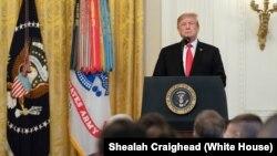 特朗普总统2019年3月27日在白宫的东厅讲话。