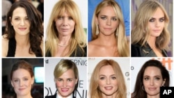 A combination photo shows actresses who have made allegations against producer Harvey Weinstein. Listed in alphabetical order, top row from left, Asia Argento, Rosanna Arquette, Jessica Barth, Cara Delevingne, Romola Garai, Judith Godreche, Heather Graham
