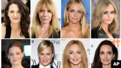 A combination photo shows some of the actresses who have made allegations against producer Harvey Weinstein. Listed in alphabetical order, top row from left, Asia Argento, Rosanna Arquette, Jessica Barth, Cara Delevingne, Romola Garai, Judith Godreche, Heather Graham, Angelina Jolie.
