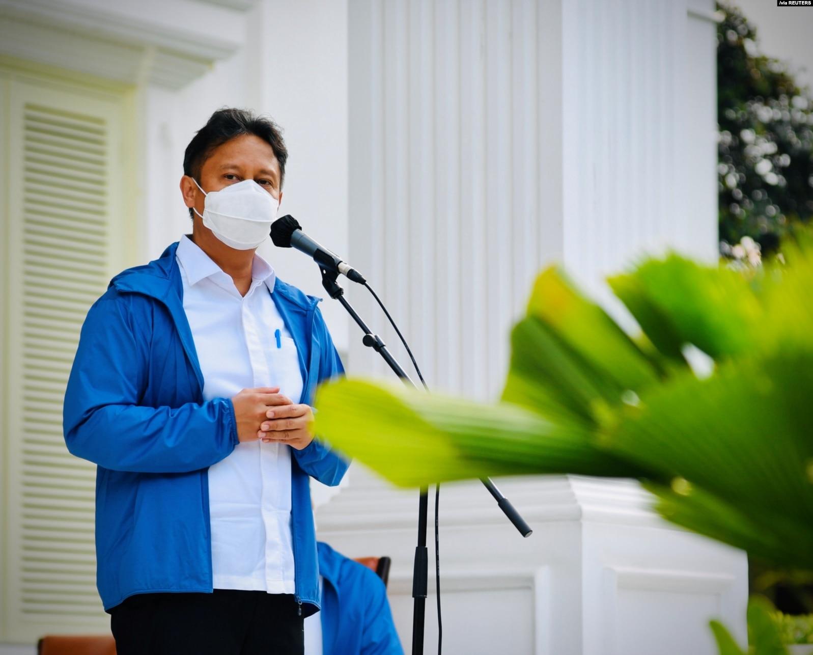 Menteri Kesehatan Budi Gunadi Sadikin saat memberi kata sambutan dalam konferensi pers di Istana Merdeka