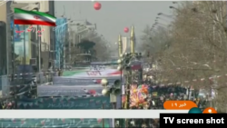 Iran's Ghadr long-range ballistic missile is seen on display at a Tehran parade celebrating the anniversary of Iran's Islamic Revolution, Feb. 11, 2018 (screen grab from Iranian state TV).
