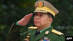 緬甸國防軍總司令敏昂萊。 (資料照片)