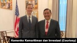 Menko Kemaritiman dan Investasi Luhut Binsar Pandjaitan bertemu dengan delegasi Amerika, termasuk penasehat senior Gedung Putih Jared Kushner, untuk membahas cara investasi baru, di Washington DC, Kamis, 13 Februari 2020. (Foto: Kemenko Kemaritiman dan In