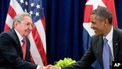 Raul Castro e Barack Obama, na ONU, 2015