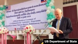 U. S. Ambassador to the Lao PDR Daniel Clune speaks at handover ceremony formally presenting a new school in Pakxan District, Bolikhamxay Province to the Lao government on February 19, 2016.