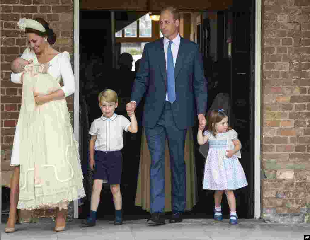 Britain's Prince William and Kate, Duchess of Cambridge with their children Prince George, Princess Charlotte, Prince Louis as they arrive for Prince Louis' christening service at the Chapel Royal, St James's Palace, London.