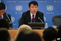 North Korea Deputy United Nations Ambassador Kim In Ryong speaks during a news briefing, Monday, April 17, 2017, at U.N. headquarters.