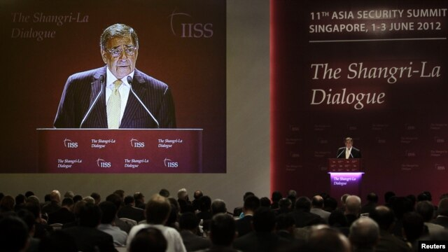 US Defense Secretary Leon Panetta speaks at the International Institute of Strategic Studies (IISS) Asia Security Summit: The Shangri-La Dialogue in Singapore June 2, 2012.