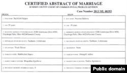 Sayfulla Saipov marriage certificate, public record, Ohio Secretary of State, partial image